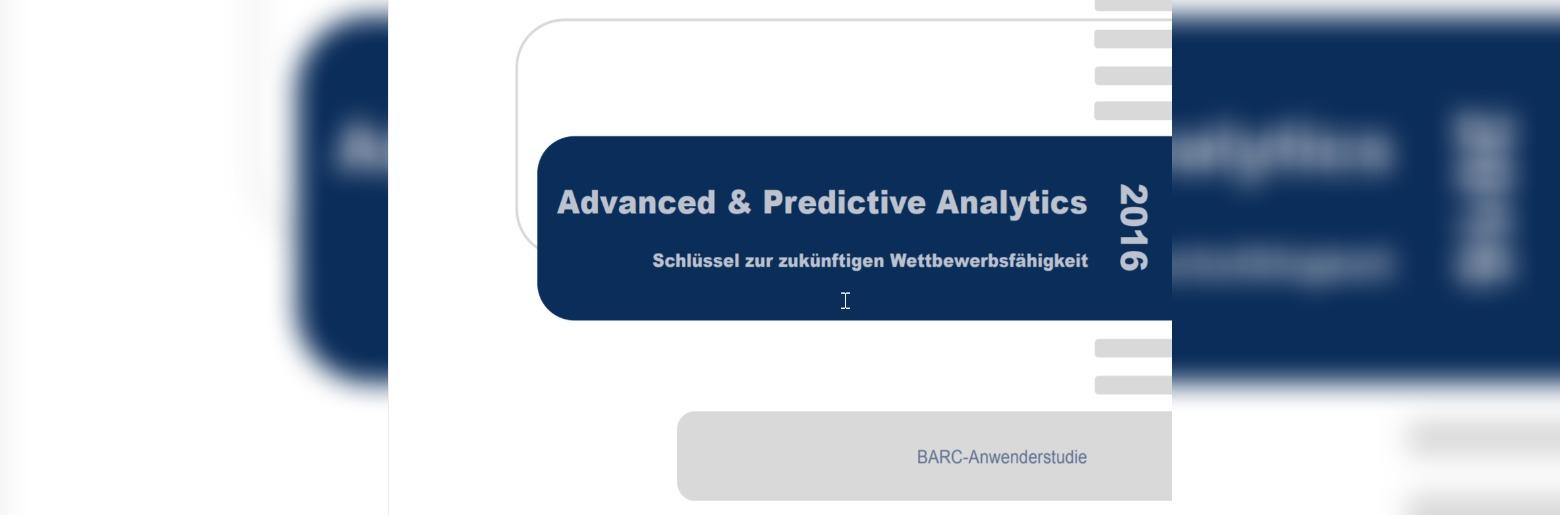 Advanced und Predictive Analytics 2016